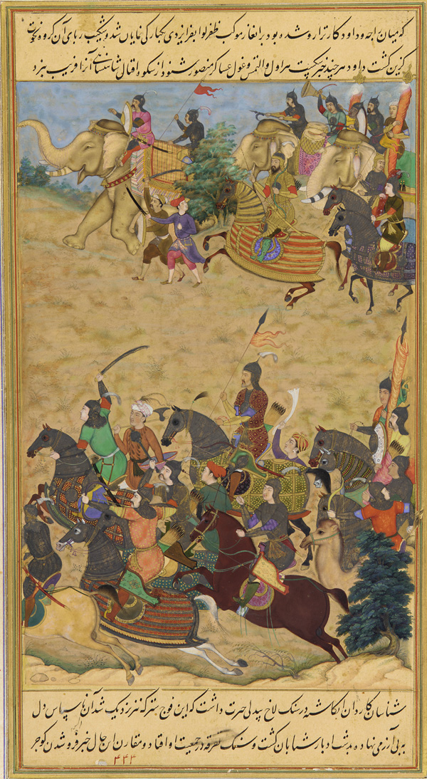 Young Akbar leads a Mughal Army of 10,000 during the Second Battle of Panipat