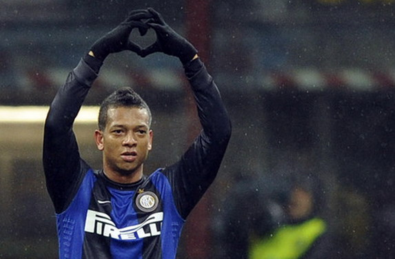 Inter Milan player Fredy Guarín celebrates after scoring a goal against Bologna