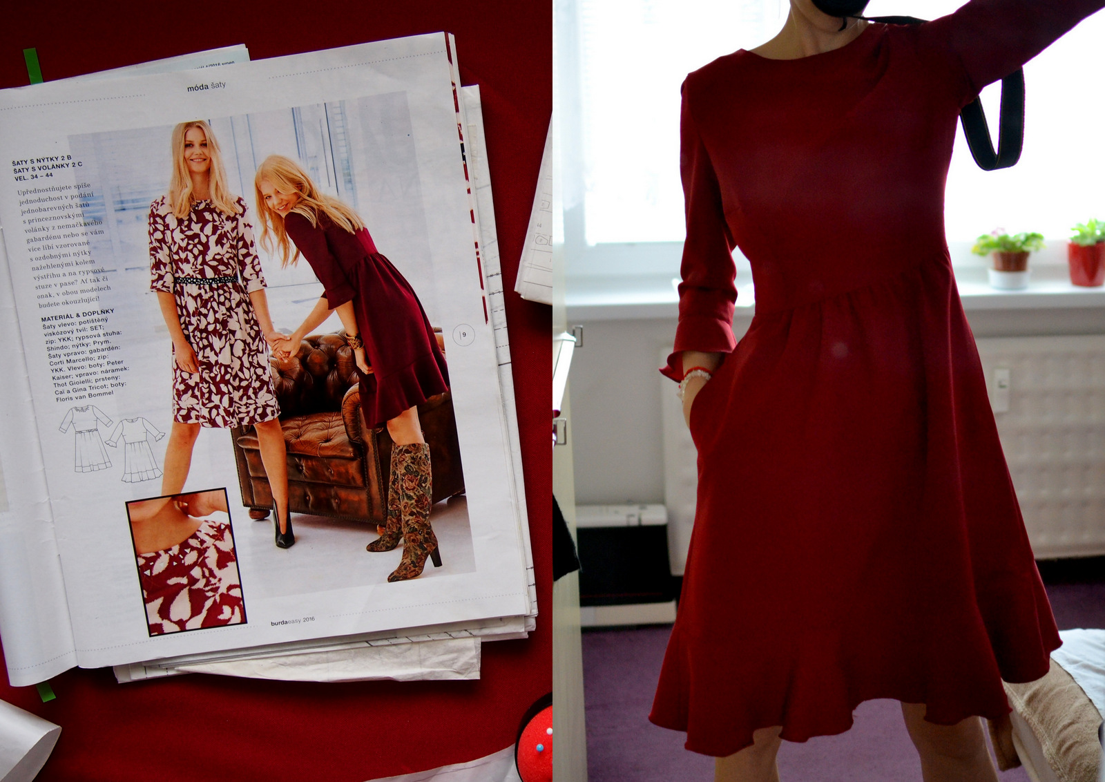 SIY: ako sme šili bordové šaty s volánmi a retro nádychom // burgundy dress with ruffles