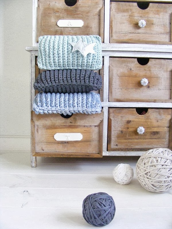chunky tshirt yarn zpagetti crochet cushions in vintage cabinet
