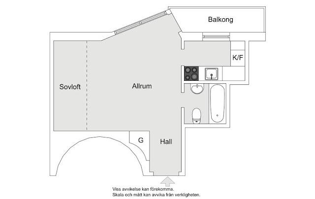 plan de amenajare pentru o garsoniera de 22 mp