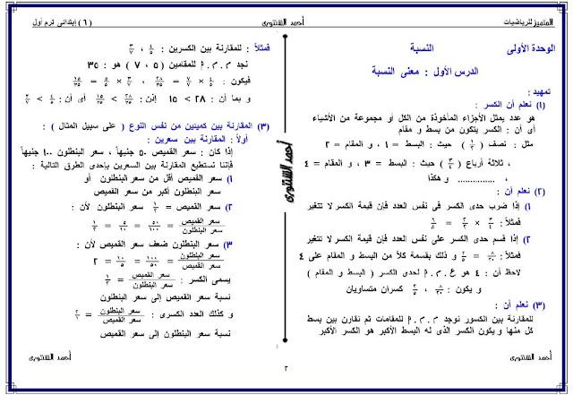 مذكرة رياضيات للصف السادس الإبتدائي الترم الأول 2017
