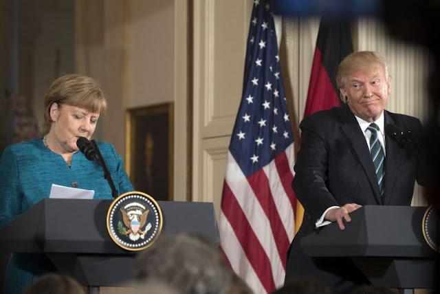 """Donald Trump afirmou que encontro com Merkel na Casa Branca foi """"ótimo"""", mas pondera que Alemanha se beneficia às custas da Otan"""