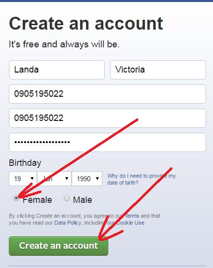 choose sex create facebook acount