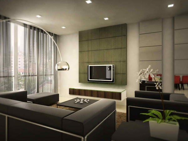 Modern Simple Living Room Interior Design With White Living Room Wall Color Idea Also Colorful Small
