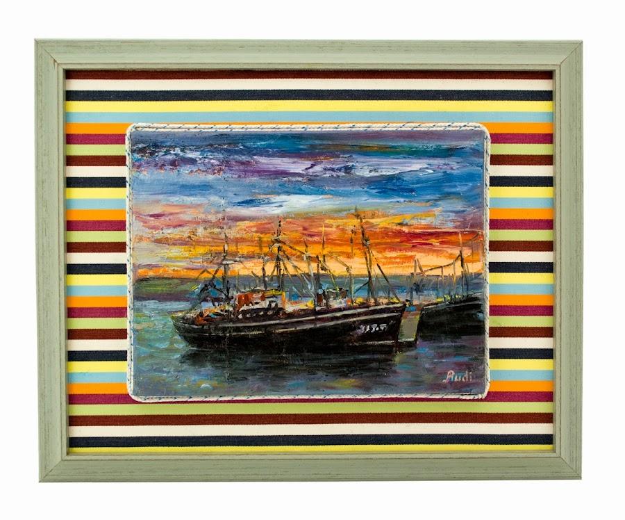 Barco, óleo original de Rudi