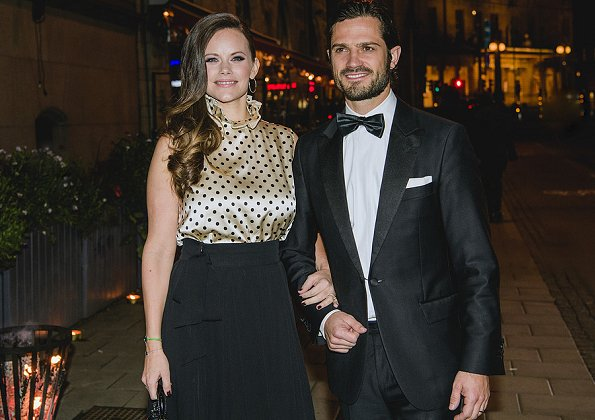 Princess Sofia wore Greta Stockholm skirt and blouse at Charity dinner. carried Mix & Match Clutch Bag