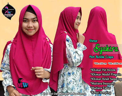 Khimar Bubble Crepe Model Pet Antem belah samping kanan kiri