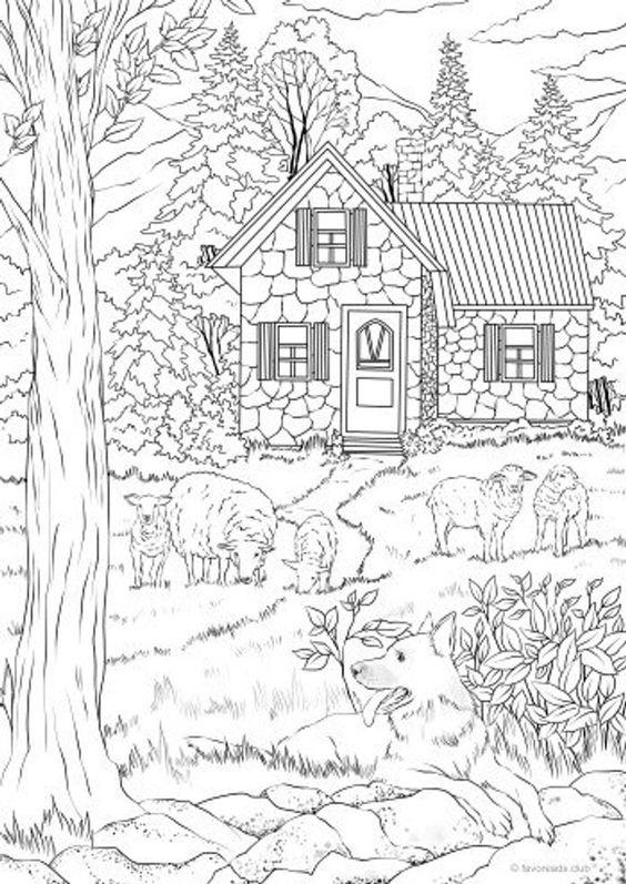 Tranh tô màu ngôi nhà trong rừng