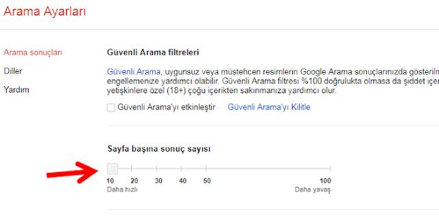 Google sayfa başı sonuç sayısı