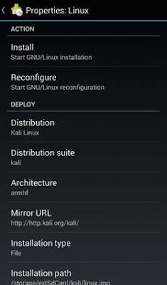 distribution and select Kali Linux