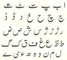 Alphabets of National Language Urdu
