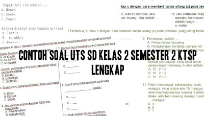 Contoh Soal UTS SD Kelas 2 semester 2 KTSP Lengkap