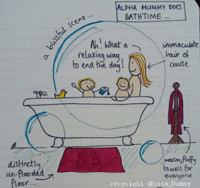 Alpha mummy in the bath! As anyone who follows me over on Facebook or Twitter can't have missed, I'm on my holidays!   This of course means I'm too busy sipping sangria and sunning myself (or trying to apply suncream to tantrumming children and wishing I hadn't eaten the prawns at the buffet) to write a post this week, so instead I asked one of my favourite bloggers, Beta Mummy, to help me out and do a doodle just for you, my dear readers.  You have probably read how bath time goes down with the Whingelets. It seems that my experiences are not unique!
