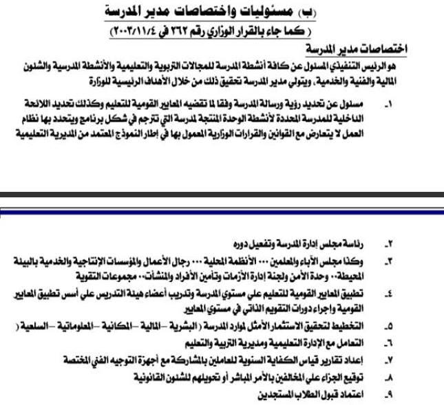 مسئوليات واختصاصات مدير المدرسة كما جاء بالقرار الوزاري 262 930_n