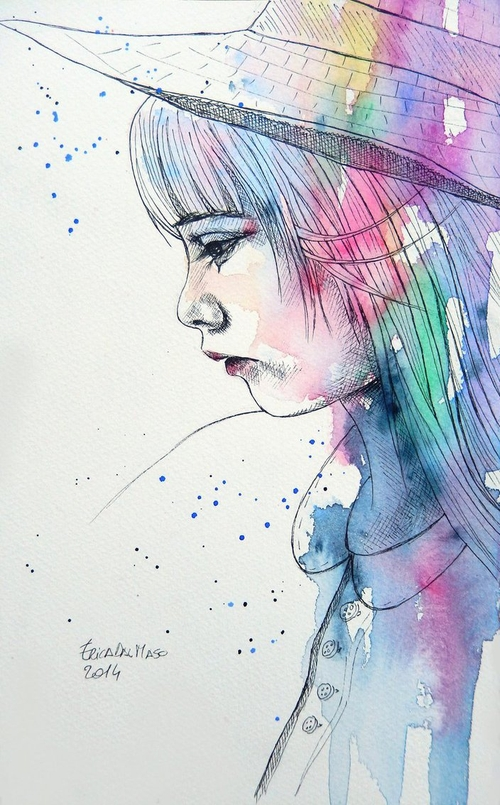19-Little-Girl-Erica-Dal-Maso-Expressing-Emotions-Through-Watercolor-Paintings-www-designstack-co