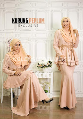 Baju Kurung Peplum Exclusive Raya 2017 warna peach