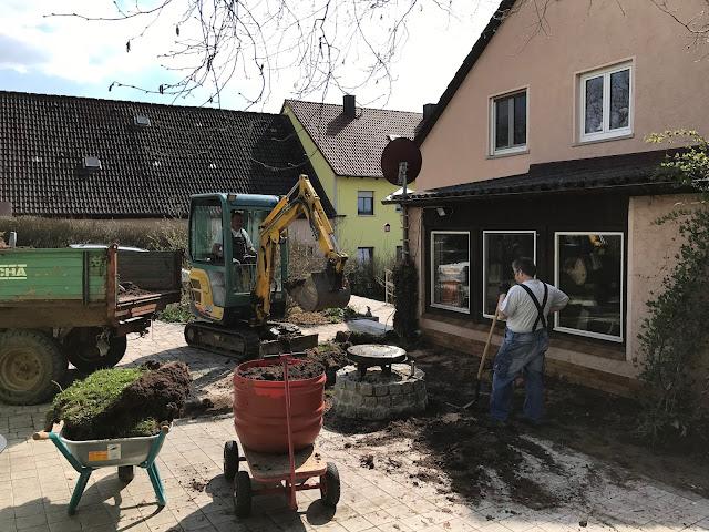 das Fundament für die Betonplatte wird ausgehoben   (c) by Joachim Wenk