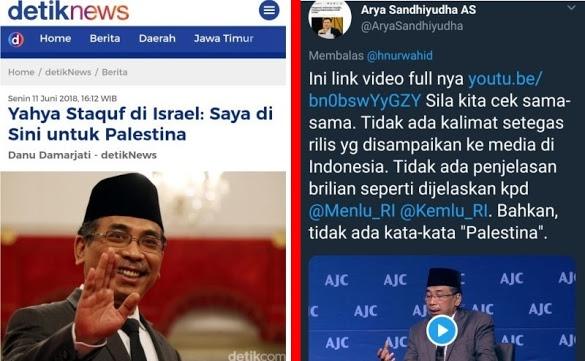 """Klaim """"Saya di Sini untuk Palestina"""", Warganet Unggah Video Yahya Staquf Bicara di Forum Israel, Ternyata.."""