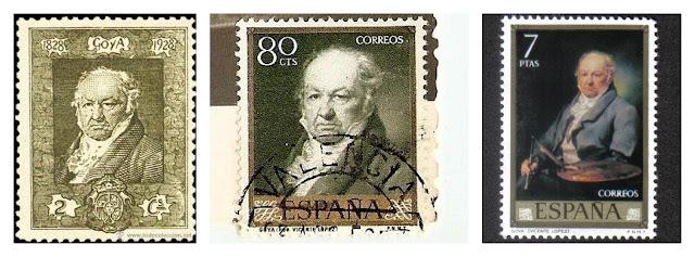 Sellos postales lanzados en España dedicados al pintor sordo tardío Francisco de Goya