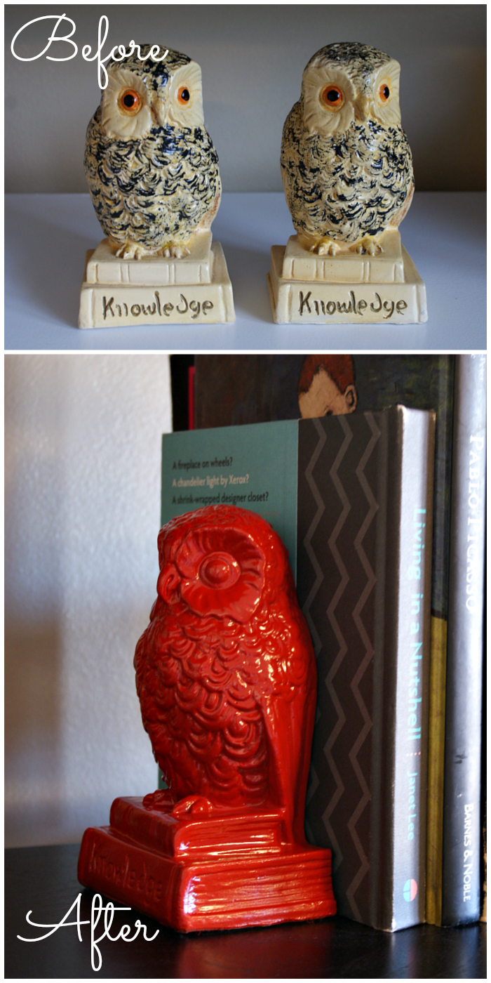 owl bookends updated with red paint diy