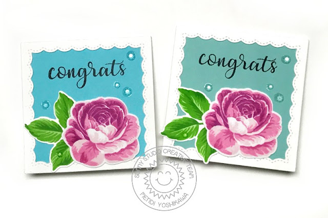 Sunny Studio Stamps: Everything's Rosy Layered Rose Congrats Mini Gift Card Enclosure