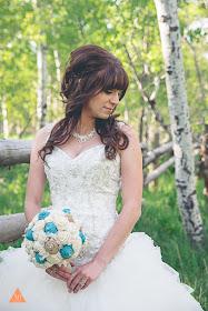burlap, lace and sola flower bridal bouquet