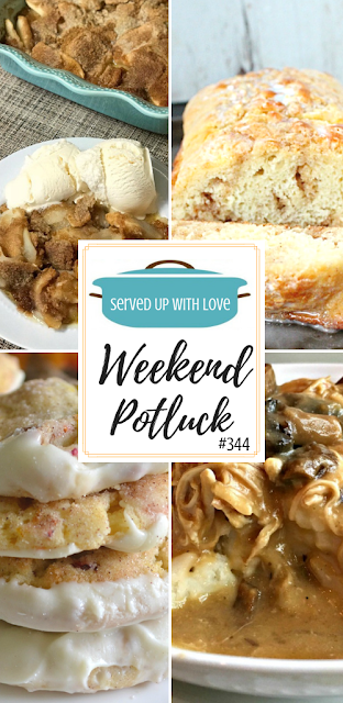 Cinnamon Roll Quick Bread, Cranberry Orange Pecan Snickerdoodles, Farmhouse Apple Flip, and Easy Slow Cooker Smothered Chicken are featured recipes at Weekend Potluck over at Served Up With Love.