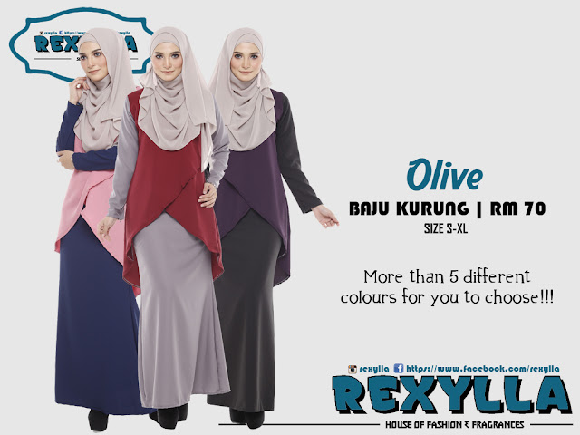 rexylla, baju kurung, olive collection