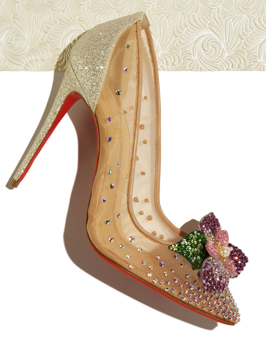 Christian Louboutin Feerica Crystal-Embellished Red Sole Pump Available in White