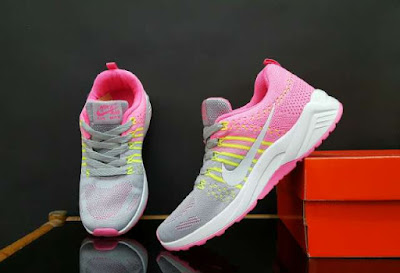 Sepatu Nike Free Flyknite Women (import) Grey Pink