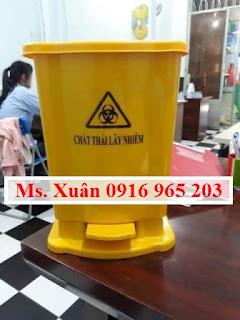 Thùng rác đạp chân 15 lít màu vàng tt 58 y tế