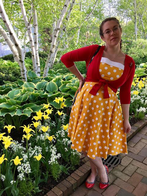 pinup girl clothing yellow polkadot netti dress