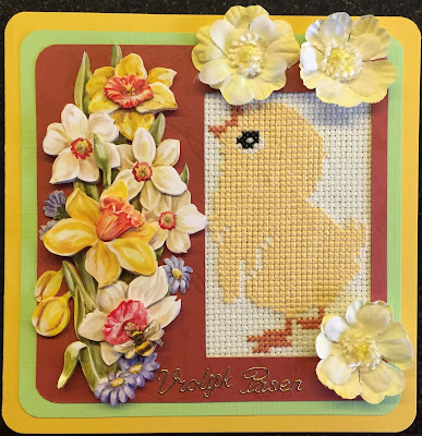Cross stitch easter chick card