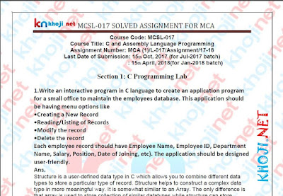 MCSL-017 SOLVED ASSIGNMENT 2017-18 FOR IGNOU MCA 1ST SEMESTER