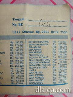 contoh tiket taksi bandara untuk tujuan ke Tanjung Karang, Bandar Lampung