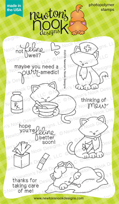 Newton's Sick Day | 4x6 photopolymer Get Well cat stamp set  | Newton's Nook Designs
