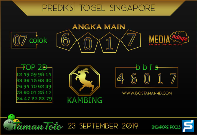 Prediksi Togel SINGAPORE TAMAN TOTO 23 SEPTEMBER 2019