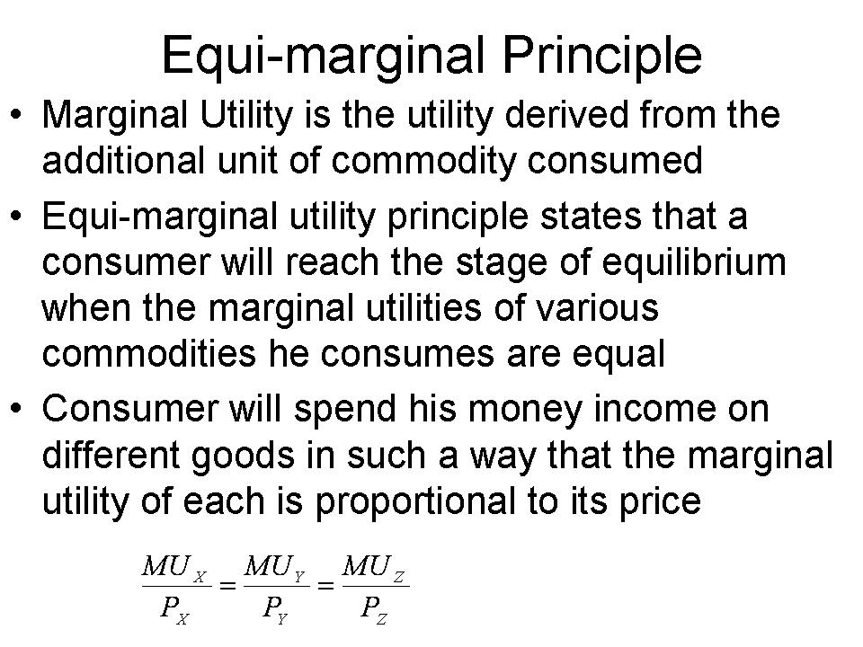 consumer expenditure and equi marginal utility Contents: definitions of the law of equi-marginal utility explanation of the law of the law assumes that the period of expenditure and income of the consumer is.