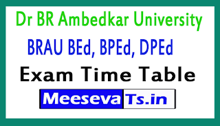 Dr BR Ambedkar University BEd, BPEd, DPEd Exam Time Table 2017