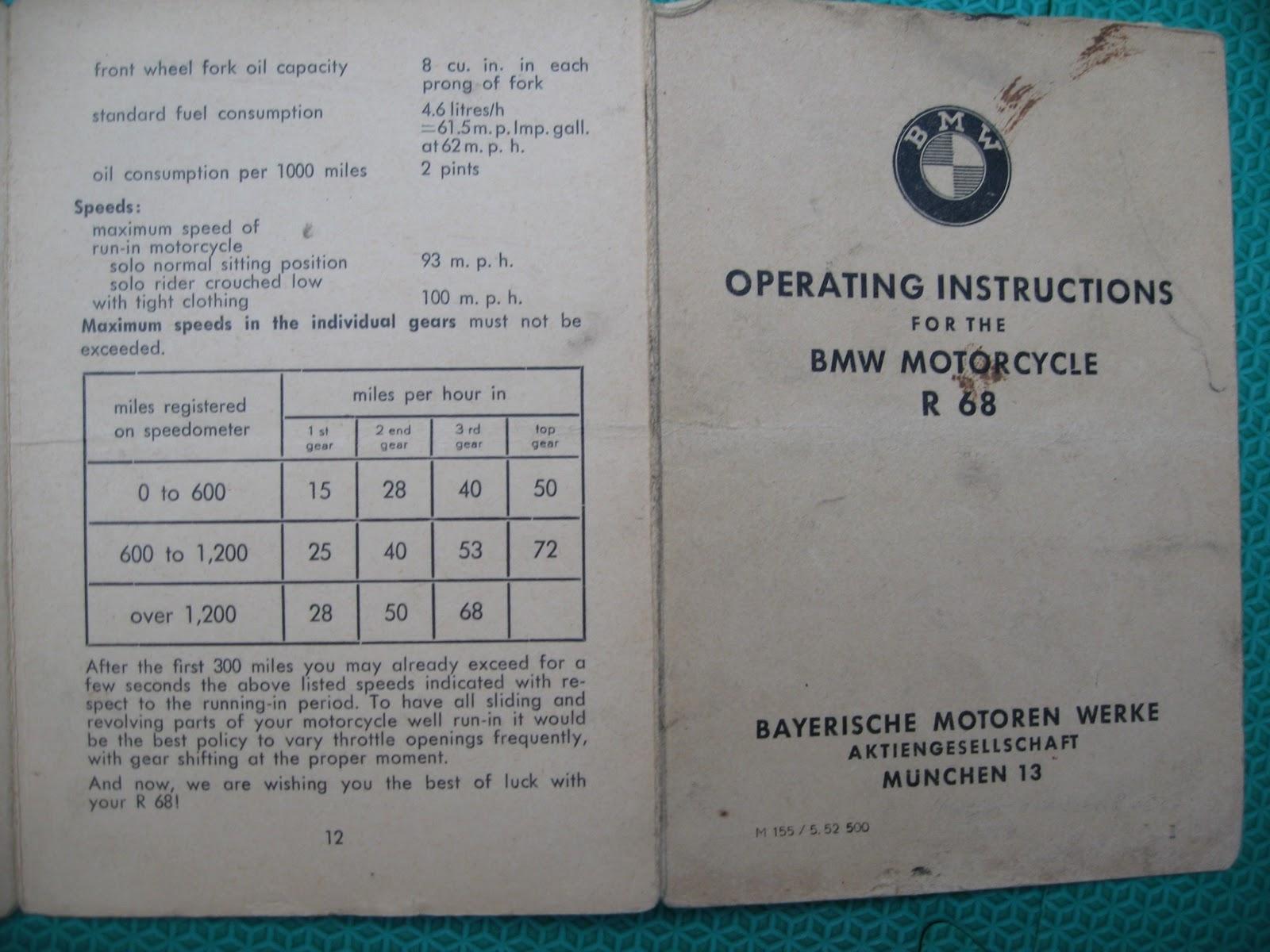Weiss und Blau: BMW R68 Operating Instructions