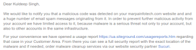 Email from my webhost informing me about the hack