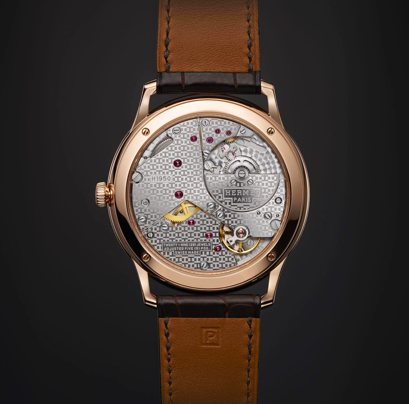 Hermès - Slim d'Hermès Petite Seconds Automatic watch case back view micro-rotor movement