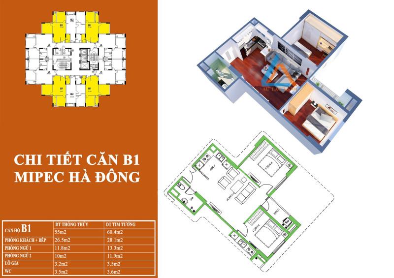 Mặt bằng căn hộ B1 chung cư Mipec Kiến Hưng Hà Đông