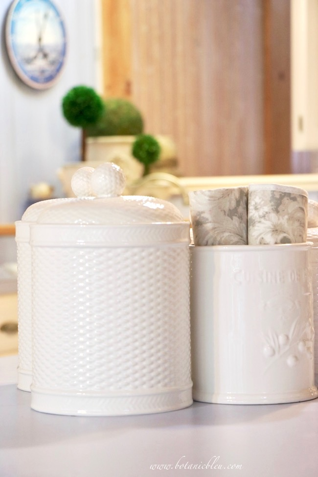 French Country Kitchen Summer to Fall White Ceramic Basketweave Canisters