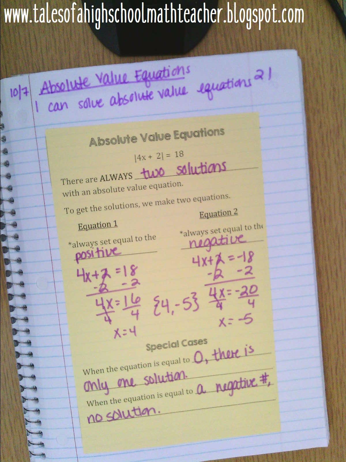 Tales Of A High School Math Teacher Solving Equations