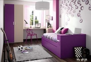 Dormitorio juvenil color morado