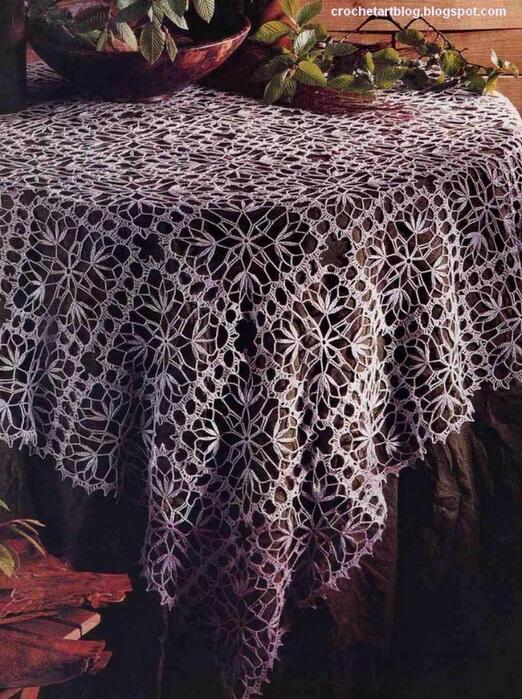 mantel crochet tejido con cuadros patrones