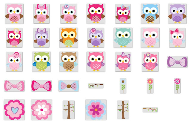 Quinceanera Owls in Colors Clipart.