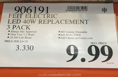 Deal for the Feit Electric 40 Watt LED Dimmable Replacement Bulbs (3 pack) at Costco